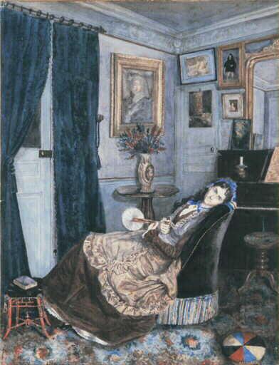 Astruc, 1874-3-6, Intérieur Parisien, aquarelle. Now: A Parisien interieur, gouache, 36x28cm, MBA Évreux