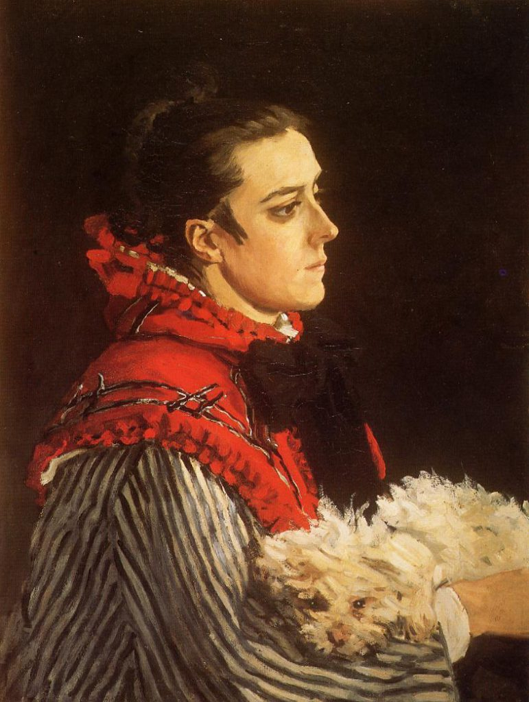 Claude Monet, 1866, CR64, Camille with a small dog, 73x54cm, private