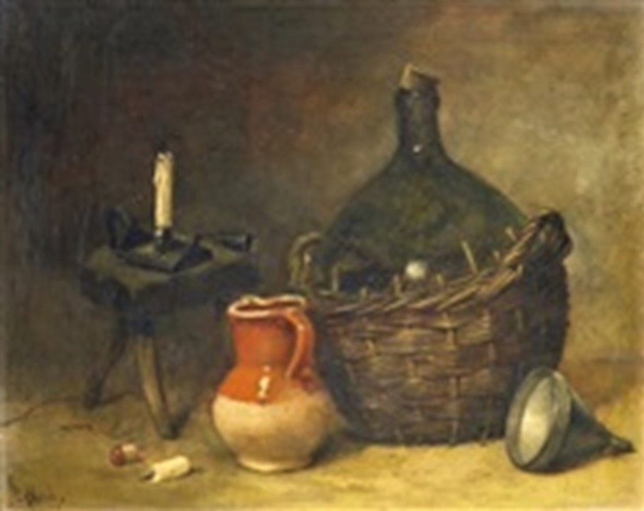 Antoine-Ferdinand Attendu, 18xx, Kitchen still-life with wine balloon and clay jug as well as a stool and candlestick, 23x30, Axx (iR13;iR1). Compare: SdAF-1884-53: La Terrine.