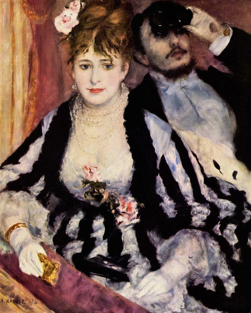August Renoir, 1IE-1874-142, La Loge. Now: 1874, CR116, The theater box, 80x64cm, Courtauld London (iR2;R87,p251;R2,p107;R90II,p12+28;R108,CR116;R30,no125;R31,no26;M60)