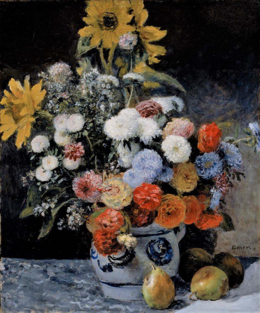 August Renoir, 1IE-1874-145, fleurs. Probably: 1869, Mixed flowers in an earthen pot, 65x54, MFA Boston (iR52;R90II,p12+28;R87,p251;R2,p122;R30,no36;R31,no14;M22,no48.592)