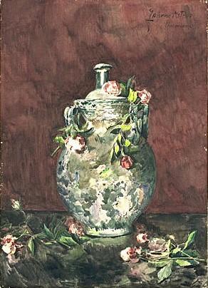 Zacherie Astruc, 18xx, Roses négligemment jetées sur un vase (Roses carelessly thrown on a vase), wc, 79x57, Louvre (iR6;iR23)