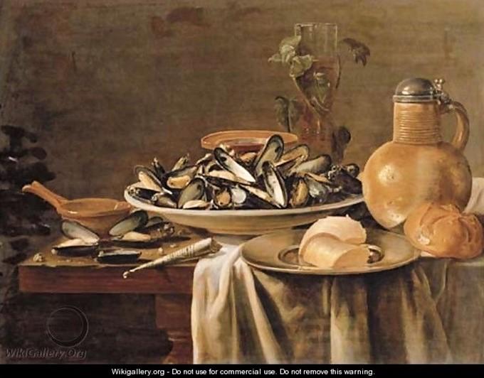 Antoine-Ferdinand Attendu (?), 18xx, Mussels in a porcelain bowl, (after Jacob Fopsen van Es), xx, xx (iR37;iR1). Compare: S1874-45, Huîtres, etc; and: S1877-59: Les huîtres.