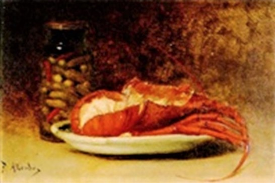Antoine-Ferdinand Attendu, 18xx, Still-life with lobster and gherkins in a glass, 15x23, Axx (iR13;iR1). Compare: SdAF-1879-79 Les langoustes.