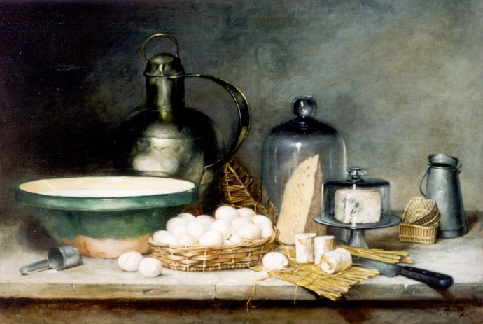 Antoine Attendu, 18xx, A still life with a pewter jug