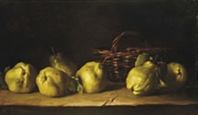Antoine-Ferdinand Attendu, 18xx, Still-life with quinches and a basket on a ledge, 40x67, A2008/06/10 (iR15;iR1) Compare: SdAF-1887-55, Les citrons.