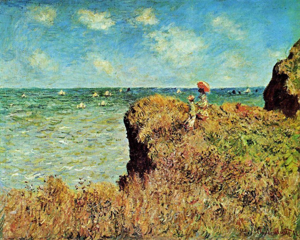 Claude Monet, 1882, CR758, Walk on the cliff at Pourville, 65x81cm, Chicago AI