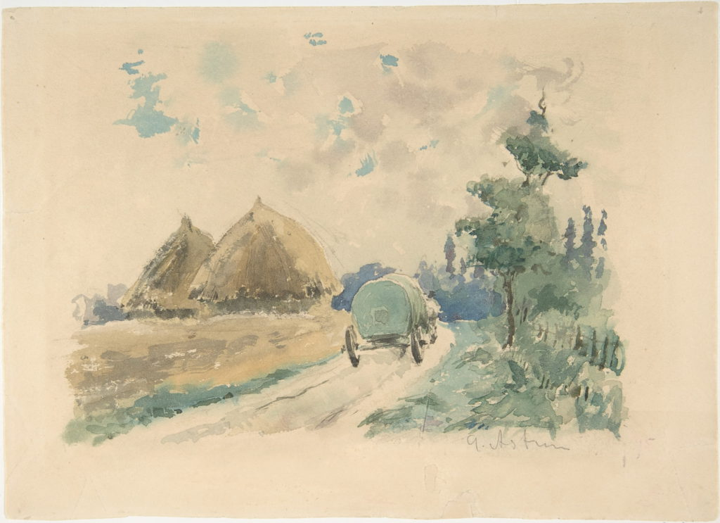 Zacharie Astruc, 1869-70ca, Landscape with wagon and haysticks (aquarelle), 14x17cm, Metropolitan (iR2)