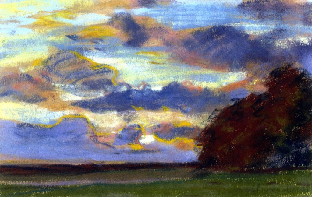 Claude Monet, 1IE-1874-100 Deux croquis (pastel). Maybe??: 1865-70ca, Sunset on the Plain, 21x32, private (iR2;R2,p121)