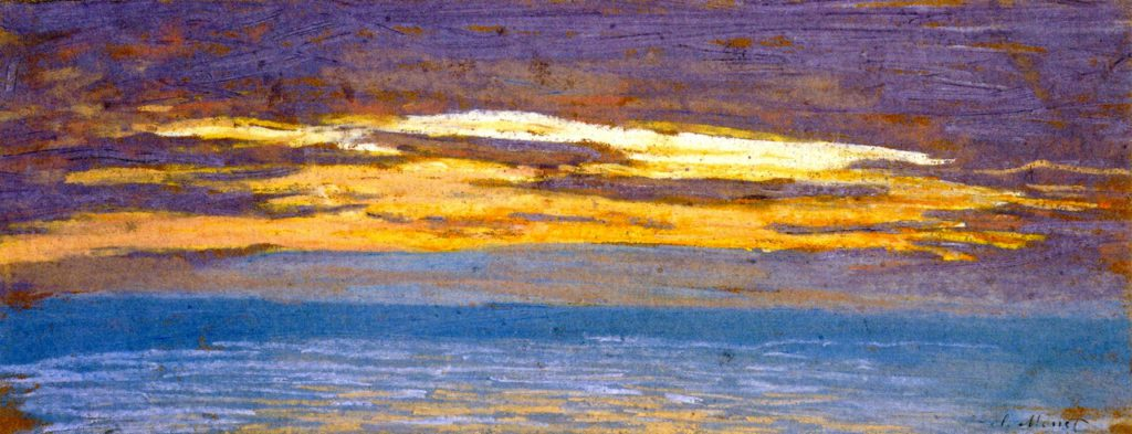 Claude Monet, 1IE-1874-101 Deux croquis (pastel). Maybe??: 1862-64ca, View of the Sea at Sunset, 15x40, MFA Boston (iR2;R2,p121;M22)