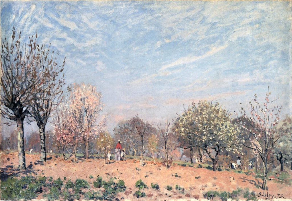 Sisley, 1IE-1874-164, Verger. Compare: CR62, 1873, Apple Trees in Flower, Spring Morning (Pommiers en Fleurs, Louveciennes), 50x73, A2013/05/08