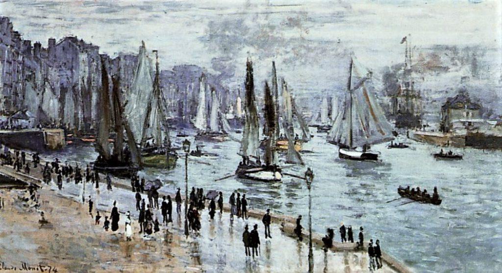 Claude Monet, 1IE-1874-96, Le Havre, Bateaux de pêche sortant du port = CR296, 1874, Fishing Boats Leaving the Port of Le Havre, 60x101, Los Angeles CMA (iRx;R2,p121;R90II,p24;R22+R127,CR296;M49)