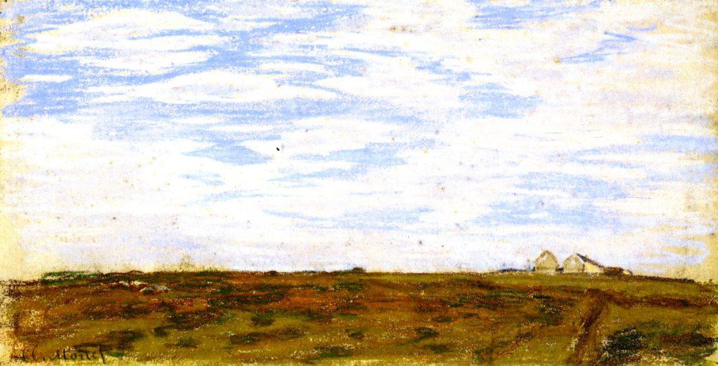 Claude Monet, 1IE-1874-99 Deux croquis (pastel). Maybe??: 1864-66 ca, Landscape with Houses, 17x36, Metropolitan (iRx;R2,p121;M23)