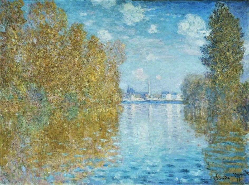 Claude Monet, 2IE-1876-148, Le petit bras, Argenteuil. Maybe: CR290, 1873, Autumn effect at Argenteuil, 55x75, Courtauld London ((c)M60,H.H.19;R22+R127,CR290;R90I,p83;R2,p163).