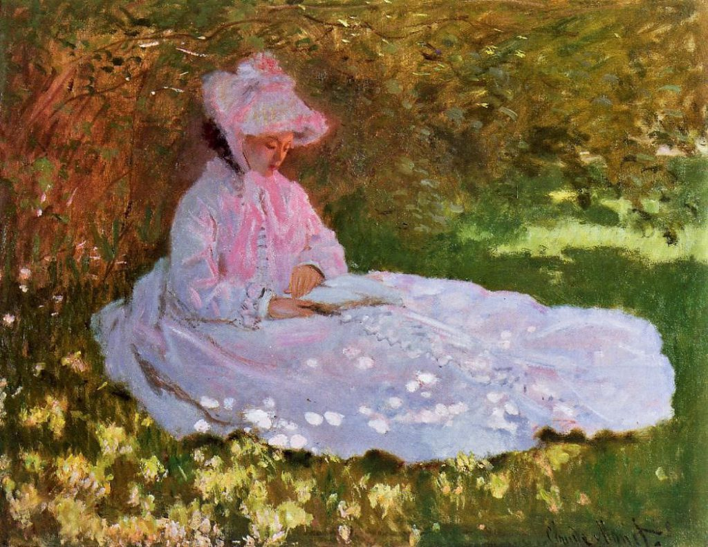 Claude Monet, 2IE-1876-165+hc, springtime = CR205, 1872, The reader (figure en rose), 50x65, WAG Baltimore (iR2;R2,p163;R90II,p59;R90I,p113;R22+R127,CR205;B48,no.37.11)