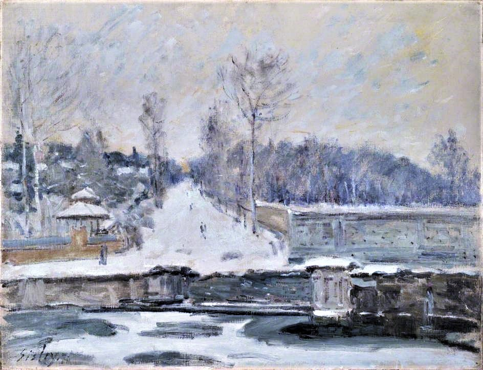 Alfred Sisley, 2IE-1876-240, Labreuvoir de Marly, en hiver. Now: CR152, 1875, The Watering Place at Marly-le-Roi, 50x66, NG London