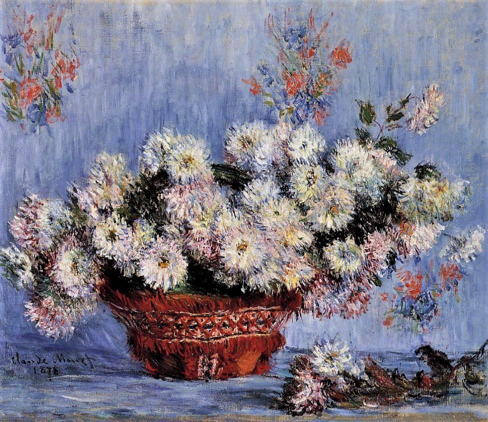 Claude Monet, 3IE-1877-106, Corbeille de fleurs. Compare: 1878, CR492a, Chrysanthemums, 54x61, private (iR2;R22,CR492a)