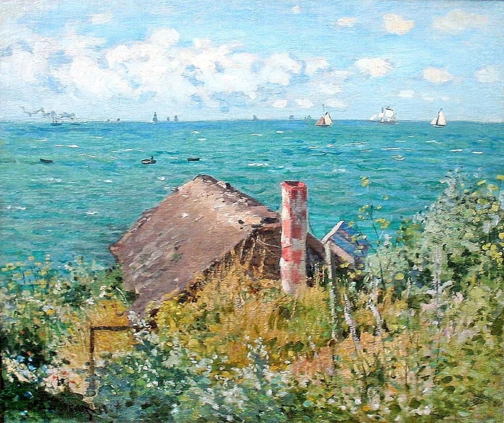 Claude Monet, 1867, CR94, A hut at Sainte-Adresse, (the Cabin), 52x62, MAH Geneva. Probably: 3IE-1877-110, Marine (Sainte-Adresse).