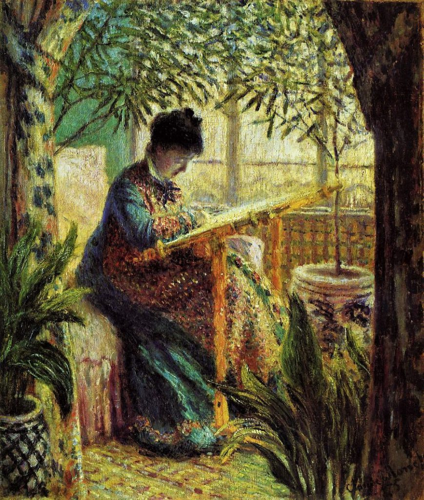 Claude Monet, 3IE-1877-114, portrait. Maybe: 1875, CR366, Camille Embroidering, 65x55, Barnes Merion (iR2;R22+R127,CR366;R194,p97;M25,no197)
