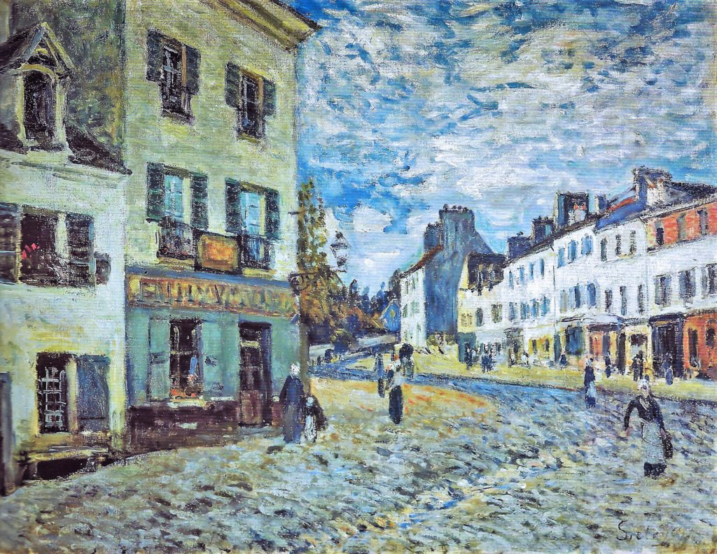 Alfred Sisley, 3IE-1877-215, rue de village. Maybe(??): 1876, CR199, Une Rue à Marly (Place du Marché), 50x65 , Kh Mannheim