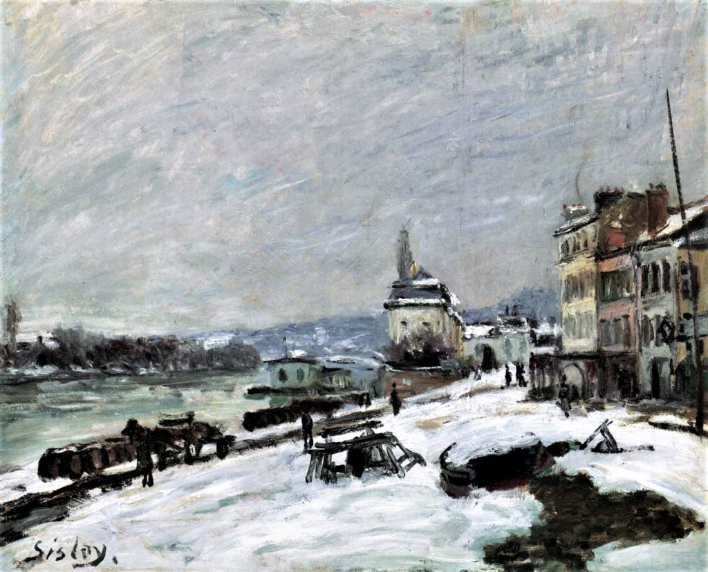 Alfred Sisley, 3IE-1877-224, Village de Marly, effet de neige. Maybe(??): 1876, CR198, Winter in Marly, Snow, 46x55, private