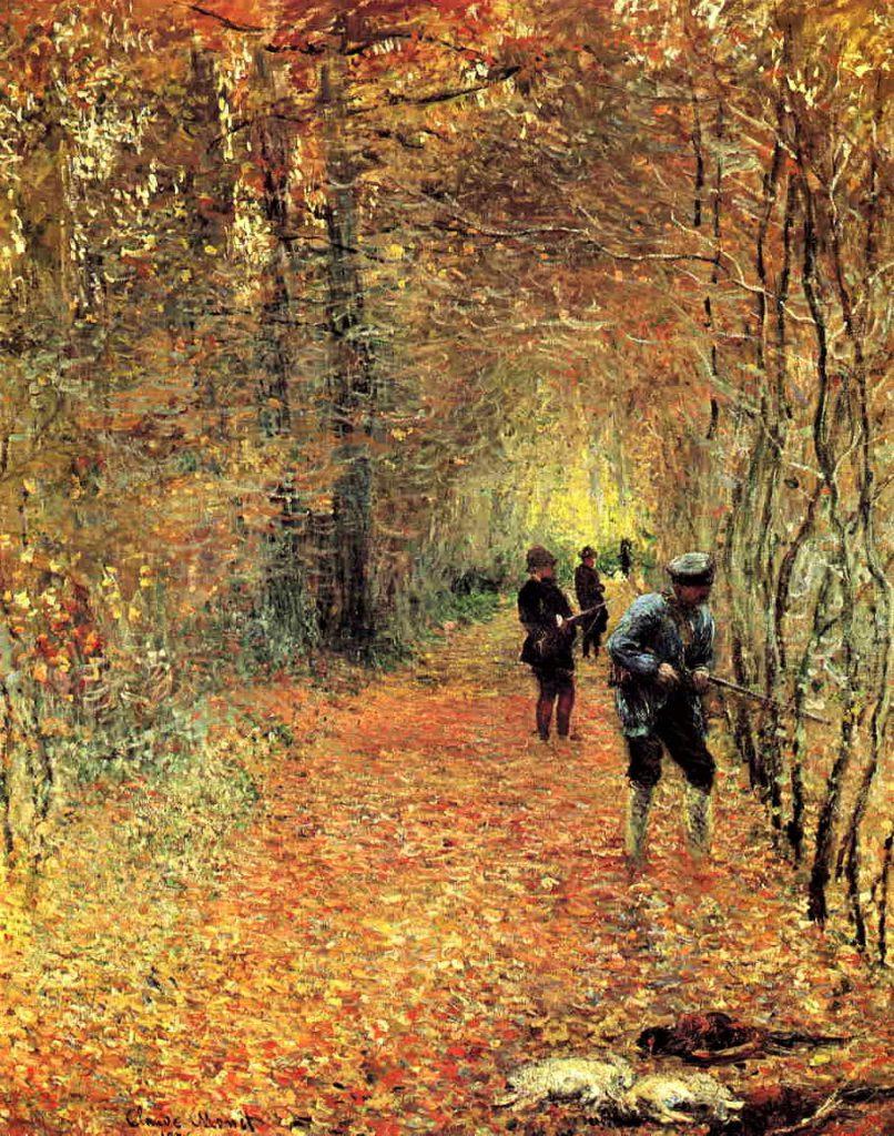 Claude Monet, 3IE-1877-92, paysage d'automne. Compare: 1876, CR433, Hunting (La Chasse), 173x140, Hôtel Guénéaud, Paris (iR51;R22+R127,CR433;R90II,p75)