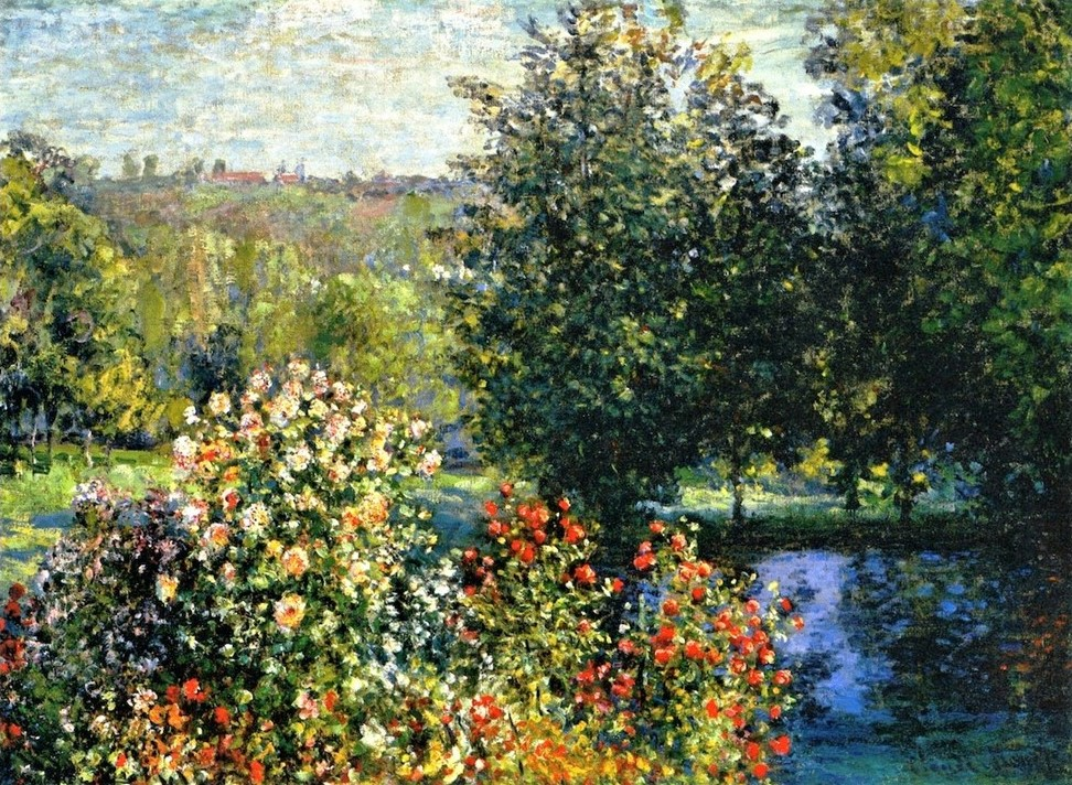 Claude Monet, 3IE-1877-93, Les Dahlias, Montgeron. Probably: 1876, CR417, The Rose bushes in the Garden at Montgeron, 60x81, private (iR2;R22+R127,CR417;R90II,p93;R2,p205)