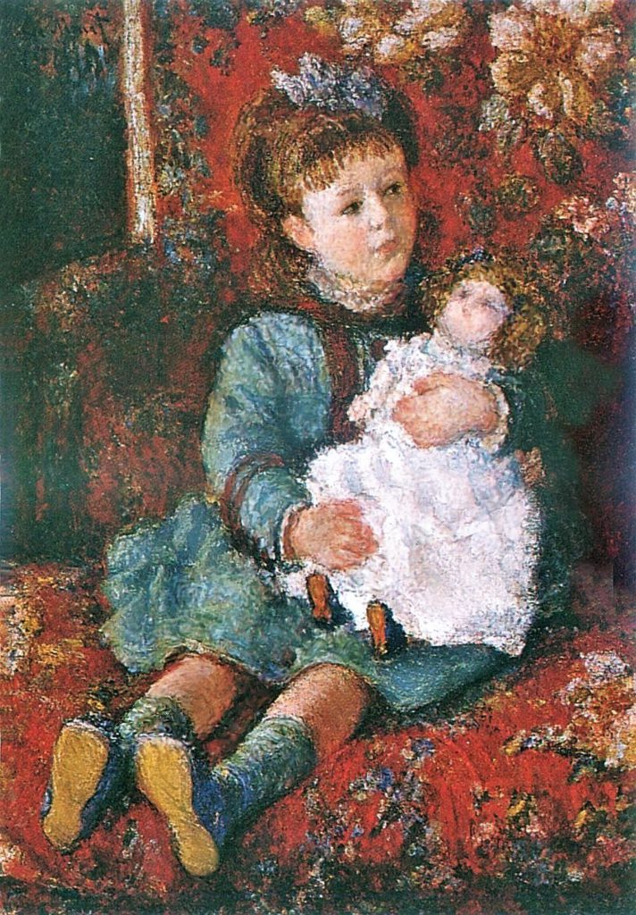 Claude Monet, 3IE-1877-99 portrait d'enfant (app. M. H.) = CR434, 1876-77, Germaine Hoschedé with her doll, 81x60, private (iR51;R22+R127,CR434;R2,p205;R90,p94)