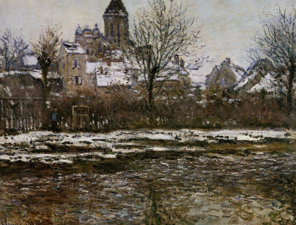 Claude Monet, 4IE-1879-144 Effet de neige à Vétheuil = CR506, 1878-79, the church at Vétheuil, winter, 53x71, Orsay (iR2;R22+R127,CR506;R2,p284;R90II,p133;M1,RF3755)