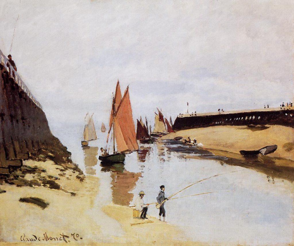 Claude Monet, 4IE-1879-147 Estacade de Trouville, marée basse (1870) = CR154, 1870, Entrance to the Port of Trouville, 54x66, SM Budapest (iR2;R22+R127,CR154;R2,p285;R90II,p134;M142,no.367B)