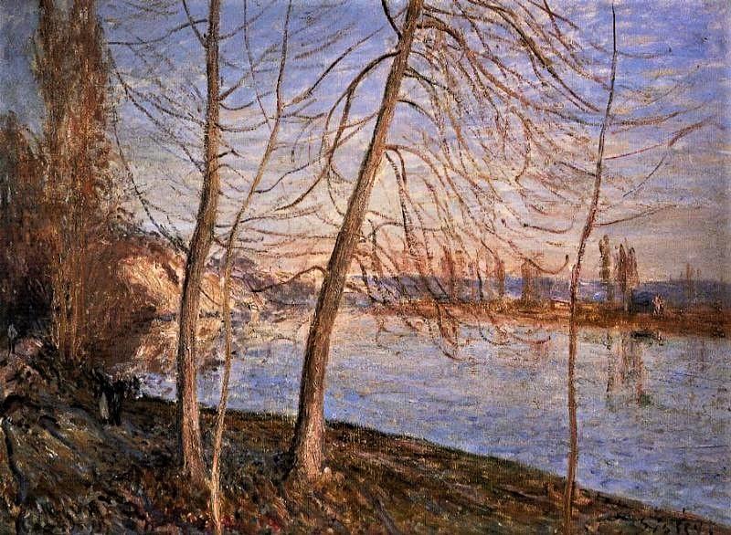 Alfred Sisley, 7IE-1882-165, Le chemin de By. Compare: 1881, Winter Morning - Veneux, 50x81, private