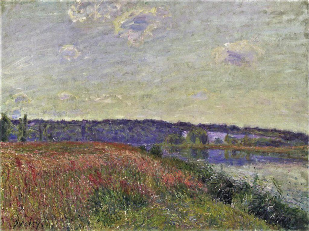 Alfred Sisley, 7IE-1882-183, La berge de la prairie de Veneux-Nadon. Compare: 1881, CR423, The Fields and Hills of Veneux-Nadon, 54x73, private