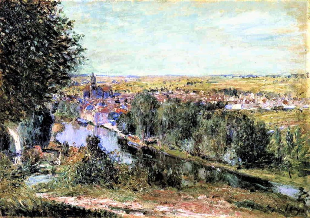 Alfred Sisley, 7IE-1882-184, Vue de Moret. Maybe(?): 1880, View of Moret, 38x55, private
