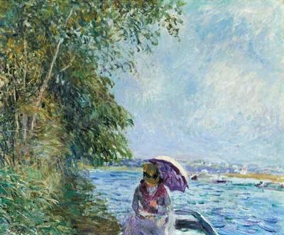 Alfred Sisley, 7IE-1882-186, Après-midi de Septembre en bateau. =1882, CR473, En canot à Veneux, après-midi de september (Dinghy at Veneux, Noon), 47x56, private
