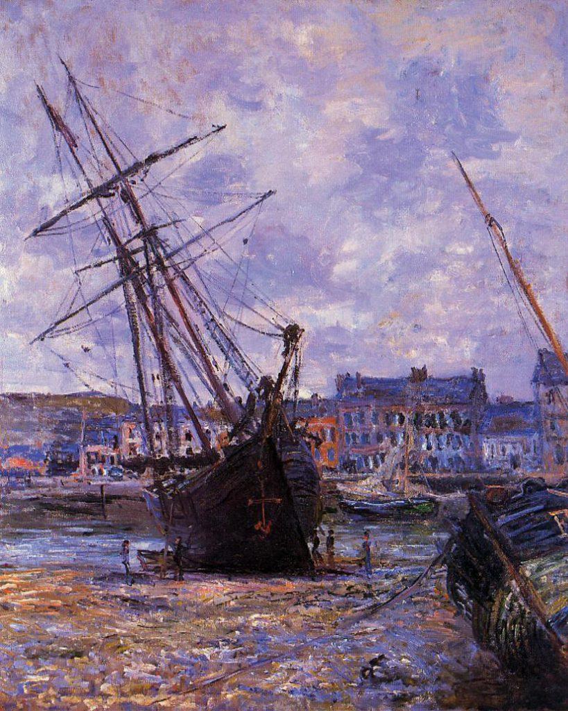 Claude Monet, 7IE-1882-64, Bateau échoué. Now: CR645, 1881, Boats Lying at Low Tide at Fecamp, 80x66, private (iRx;R22,no645;R90II,p205+220;R2,p395)