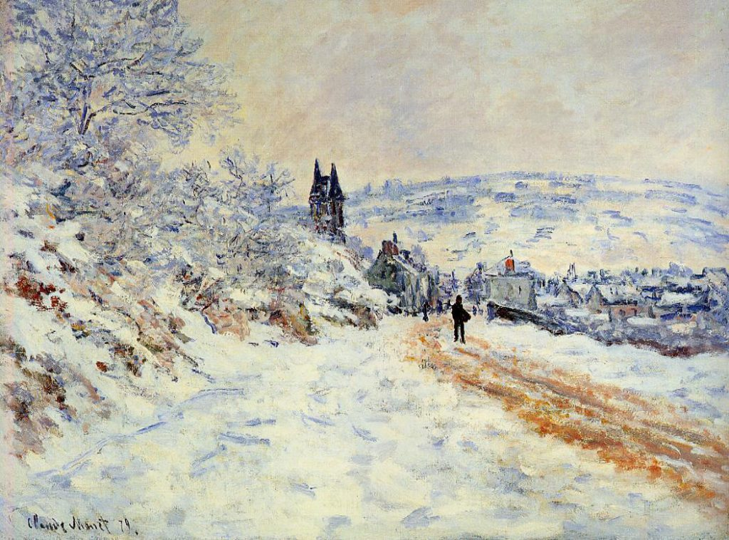Claude Monet, 7IE-1882-68, Vétheuil, effet de neige. Maybe: CR508, 1879, The Road coming into Vetheuil, Snow Effect, 61x82, MFA St. Petersburg, Florida (iR2;R22,no508;R90II,p205)