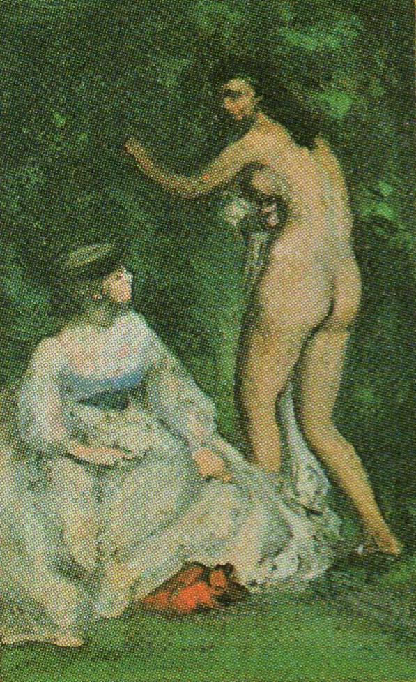 August Renoir, S1866-R, A landscape with two figures. Now detail of: 1870, Bazille's Studio at 9 Rue de la Condamine, xx, Orsay (iRx;R31,p179;M1)