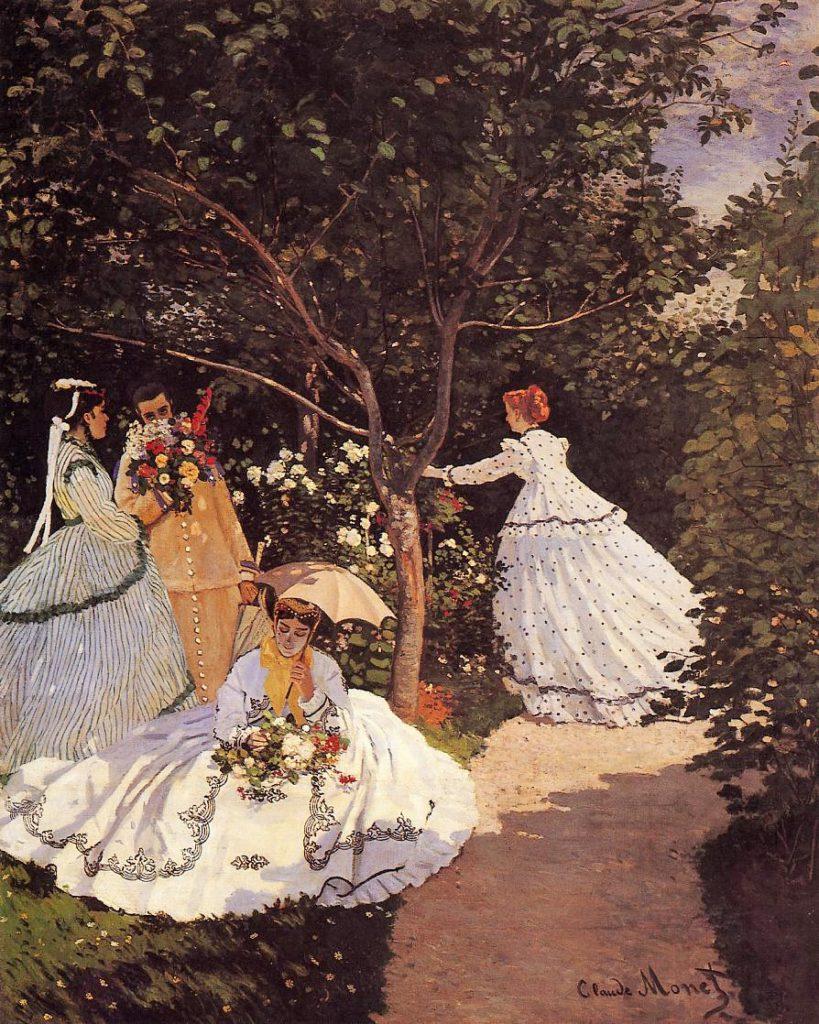 Claude Monet, S1867-R1. Now: CR67, 1866, women in the garden, 256x208, Orsay (iR2;iR1;R22,no67;M1) Also: 1867, Latouche expo