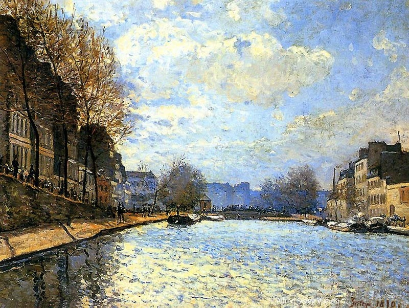Alfred Sisley, S1870-2651, Vue du canal Saint-Martin. Now: 1870, CR16 , Vue du canal Saint Martin Canal, 50x65, Orsay