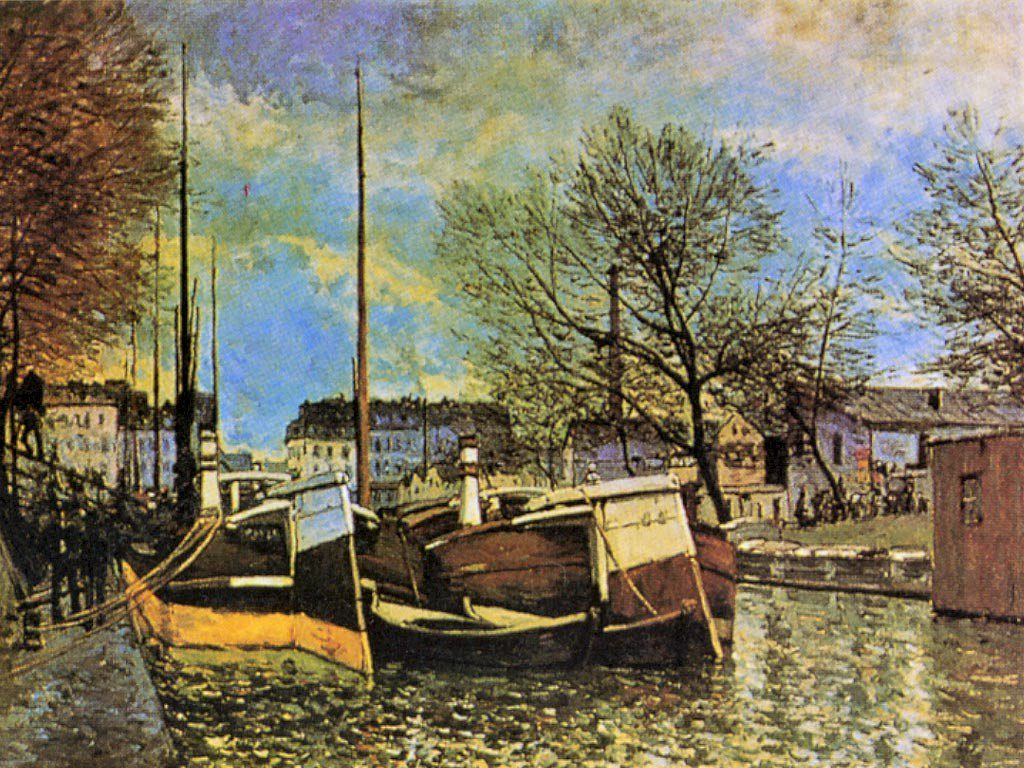 Alfred Sisley, S1870-2650, Péniches sur le canal Saint-Martin. Now: 1870, CR17, Péniches sur le canal Saint-Martin (Barges on the Saint-Martin Canal), 54x73, ORF Winterthur