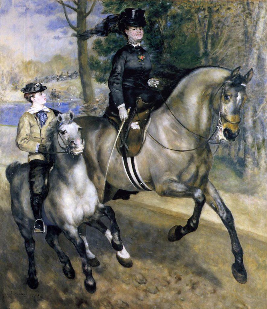 August Renoir, S1873-SdR-90, Allée cavalière au Bois de Boulogne. Now: 1873, Riding in the Bois de Boulogne(or Madame Henriette Darras), 261x226, Kh Hamburg (iRx;R30,no104;R31,p196;M50)