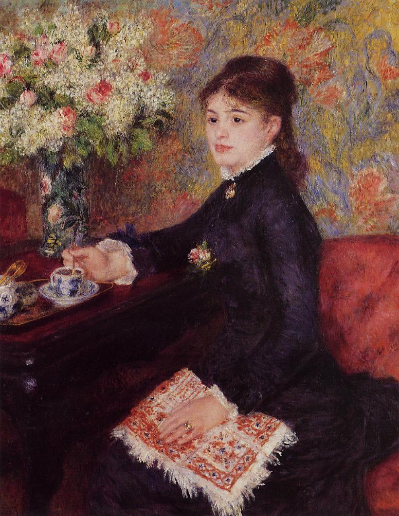 Renoir, S1878-1883, Le café. Now: 1878, CR272, The Cup of Chocolate (or: Woman drinking coffee), 100x81, private (R30,no315;R31,p299)