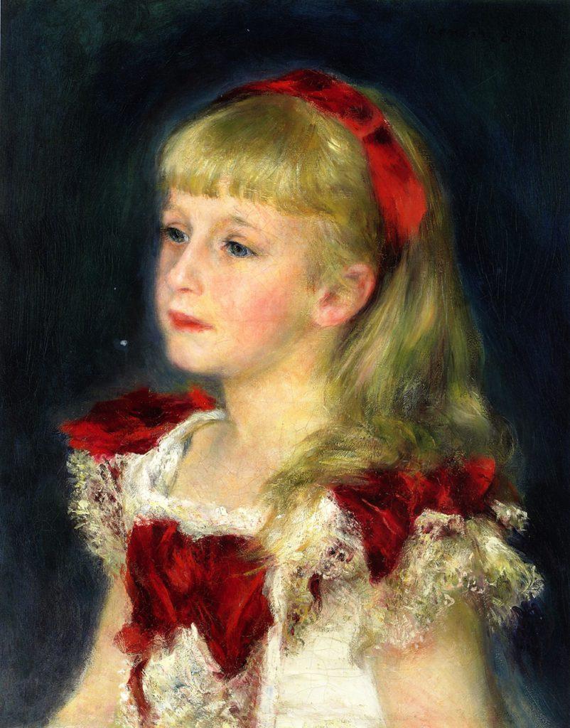 August Renoir, SdAF-1881-1987, portrait de Mlle xxx. Maybe??: 1880, Mademoiselle Hélène Grimprel with a Red Ribbon, 44x35, private (iRx;R30,no426)