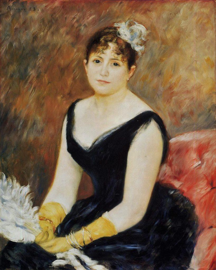 August Renoir, SdAF-1883-2031, portrait de Mme. C... Now: 1883, Madame Léon Clapissonwith a fan (Marie Henriette Valentine Billet), 81x65, AI Chicago (iRx;R30,no559;R31,no70;M20)