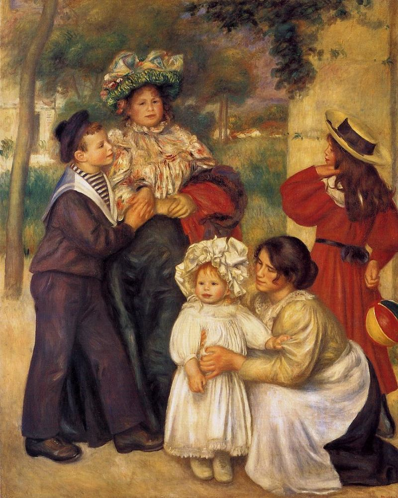 Renoir, 1896, The Artist's Family (Pierre 11, Aline 37, Jean 2, Gabrielle 18 +a neighbor girl), 173x140, Barnes Merion (iR22;R30,no688;R174,p77). Part of the solo exhibition May/June 1896 at Durand-Ruel.