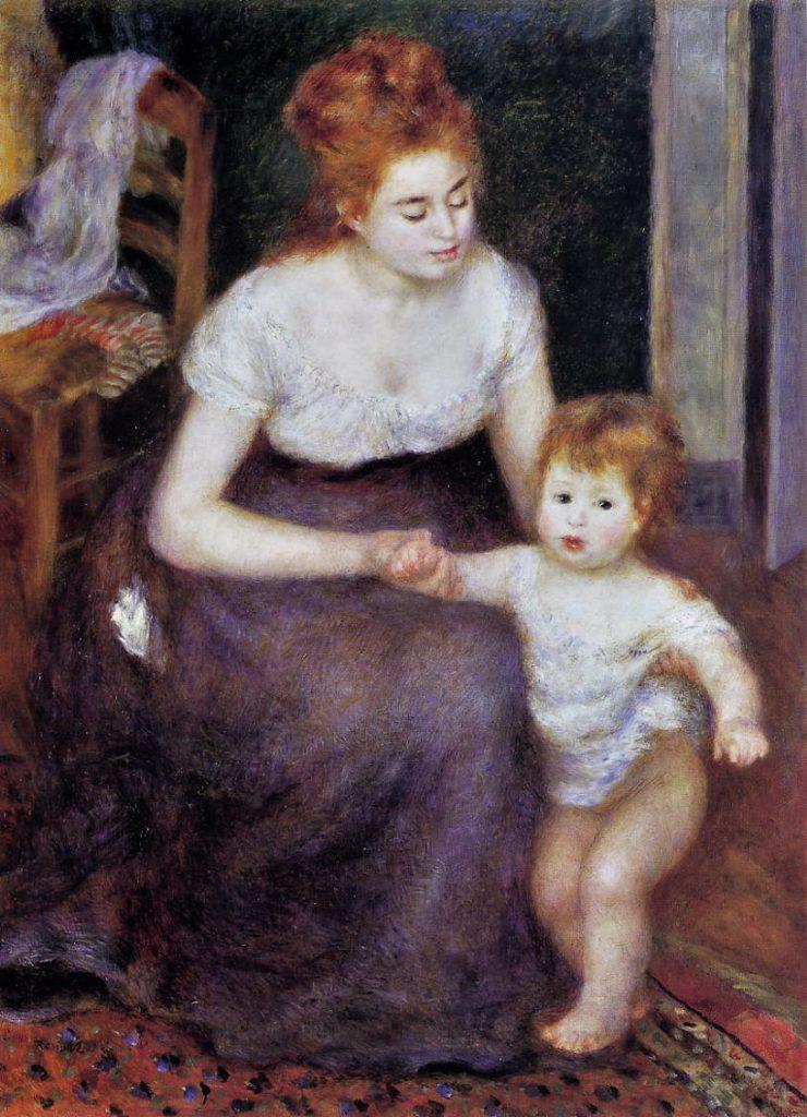Renoir, 2IE-1876-209, femme et enfant. Very uncertain option: 1876-80, The first step, 111x81, private (iR52;R30,no414)