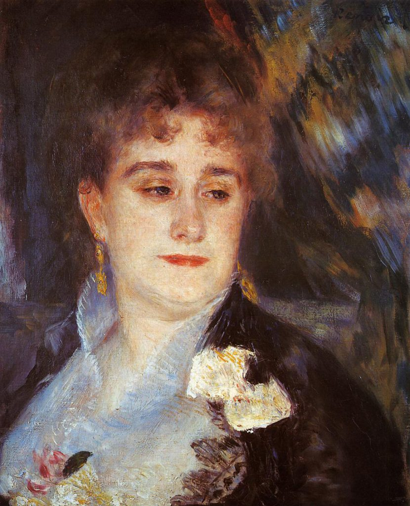 Renoir, 3IE-1877-187 Portrait de madame G.C. (appartient à M. G. Charpentier). Now: 1876-77ca, CR226, First Portrait of Madame Georges Charpentier, 46x38, Orsay (iRx;R30,no269;R90II,p100)
