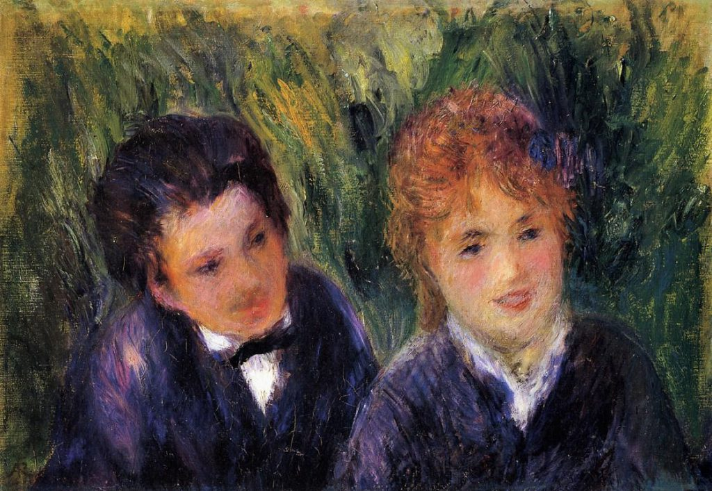Renoir, 3IE-1877-202, deux têtes. Maybe?: 1876ca, Young Man and Young Woman, 31x45, Orangerie (iRx;R30,no241)
