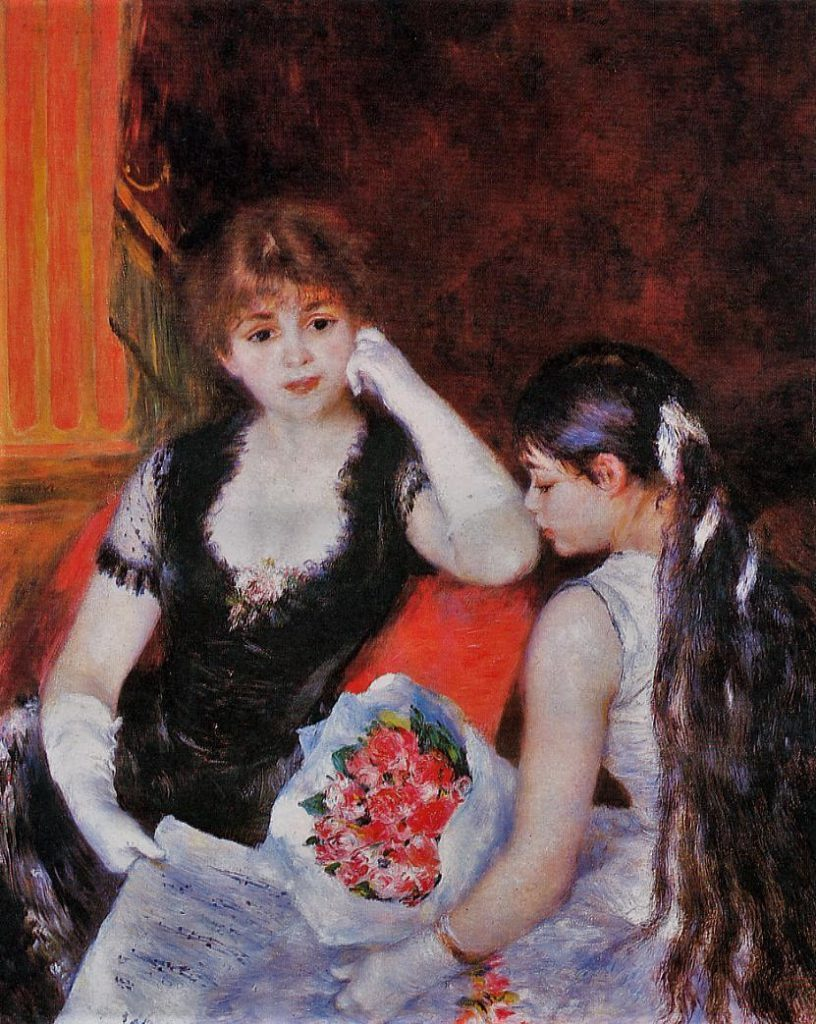 Renoir, 7IE-1882-139, une loge à l'Opéra Now: 1880, CR329, At the concert, 99x81, CAI Williamstown (iR2;iR59;R2,p377;R90II,p229)