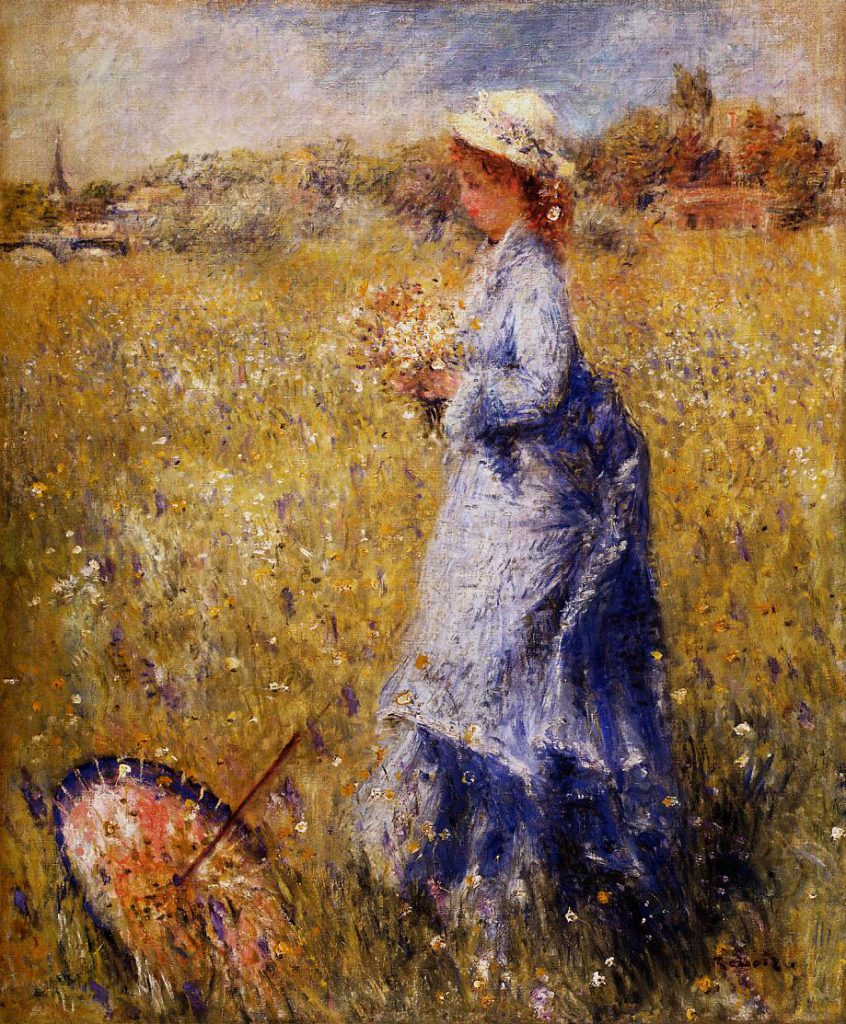 Renoir, 7IE-1882-142, Femme cueillant des fleurs Now: 1872ca, CR74, woman gathering flowers, 66x54, CAI Williamstown (iRx;R30,no87;R90II,p230)